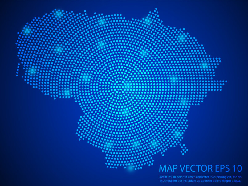 Abstract-image-Lithuania-map-from-point-blue-and-glowing-stars-on-Blue-background-1030x771