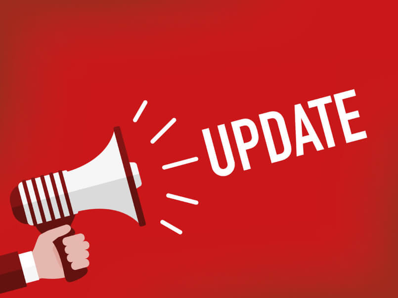 The word update on red background