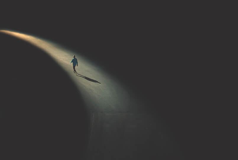 Dedicated man walking alone